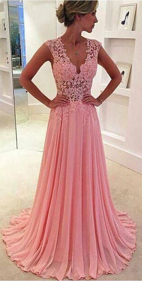 Blush Pink A Line Chiffon Prom Dresses Lace Appliques Plunging V Neck Sexy Evening Gown Sheer Cap Sleeves Girls' Party Dress