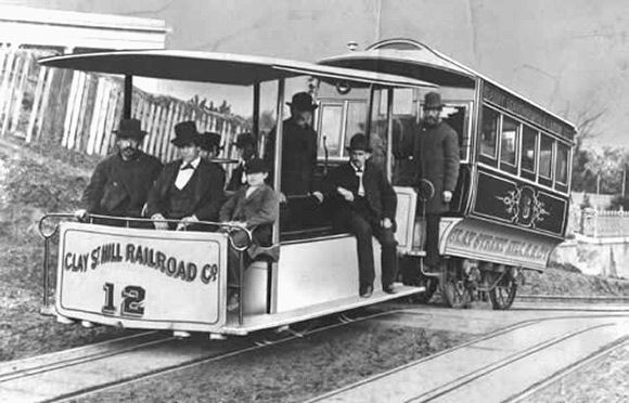 "Aug. 2, 1873: San Francisco's First Cable Car Conquers Nob Hill  //  Image: ""1873: Andrew Hallidie tests the first cable car in San Francisco.""  // Hallidie is said to have conceived his idea in 1869 while watching a team of horses being whipped as they struggled to pull a car up wet cobblestones on Nob Hill. They slipped and were dragged to their deaths."