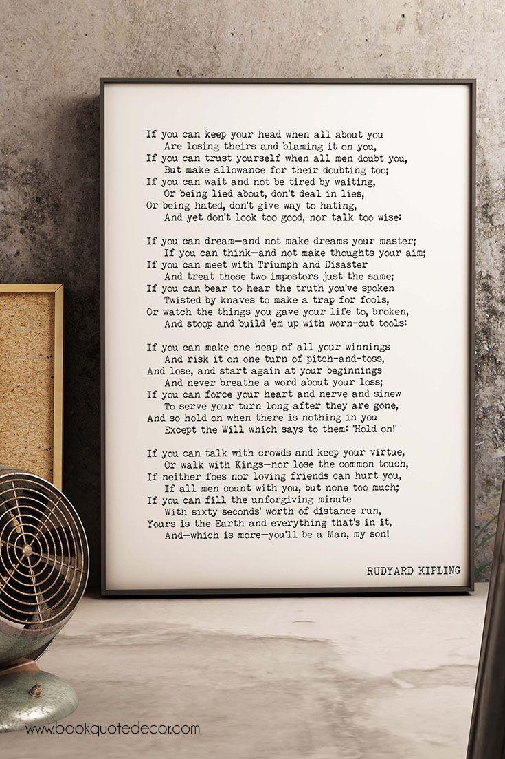 Large Framed Print Rudyard Kipling Poem 16x20 Or 18x24 If Poetry