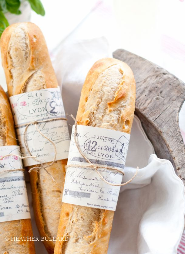 Free French Baguette Wrapper Printable...in case I ever make bread this beautiful (or to dress up a bakery loaf for a gift)