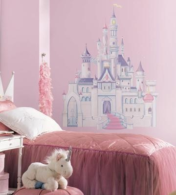 Large Disney Princess Wall Decals - Cinderella Giant Castle with Glitter Wall Mural
