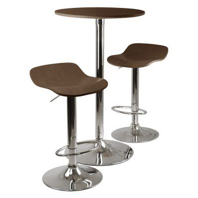 Winsome Kallie 3-Piece Round Pub Table Set - Cappuccino - 93344