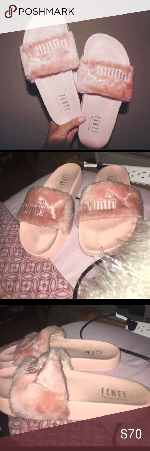 Authentic Fenty Puma Slides Authentic pink Fenty Puma slides. Rihanna. Retail is $120 +. Used but in great shape. Back heel is worn a little. Women's size 9. Fits perfectly! Make an offer :) Puma Shoes Sandals