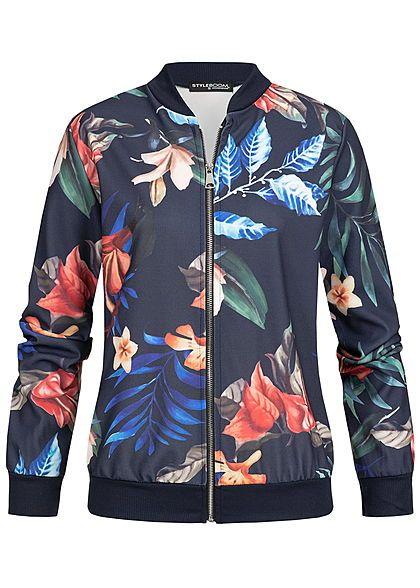 c9a5f2e23c117a Styleboom Fashion Damen Blouson Jacket Tropical Print navy blau multicolor