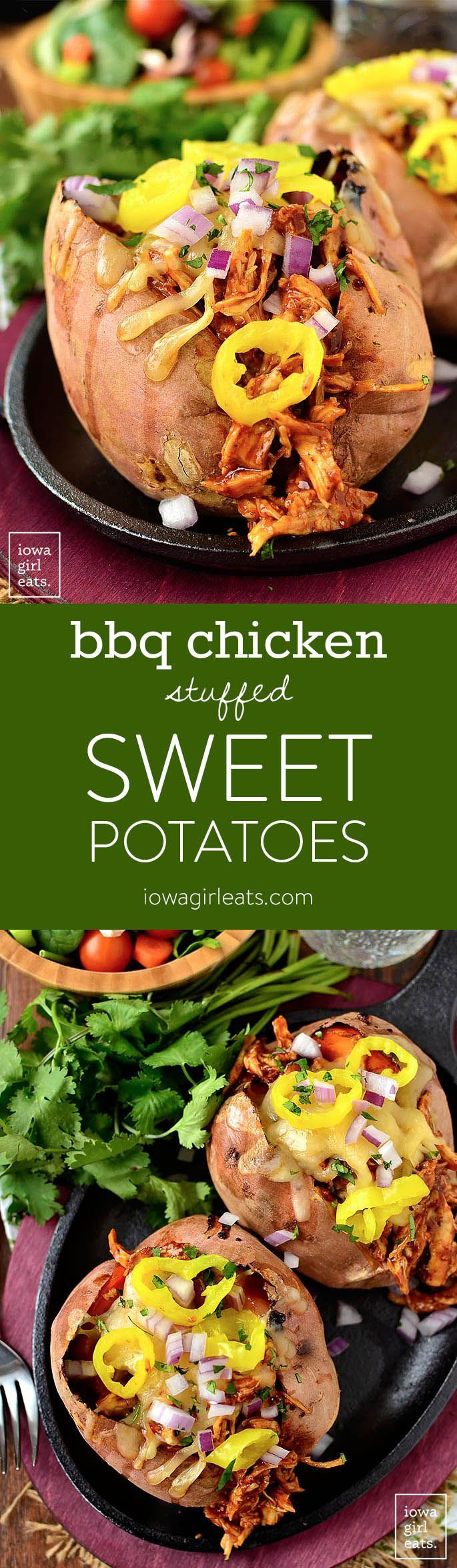 BBQ Chicken Stuffed Sweet Potatoes call for just 4 main ingredients and are absolutely mouthwatering. Leftovers are just as tasty too! | iowagirleats.com