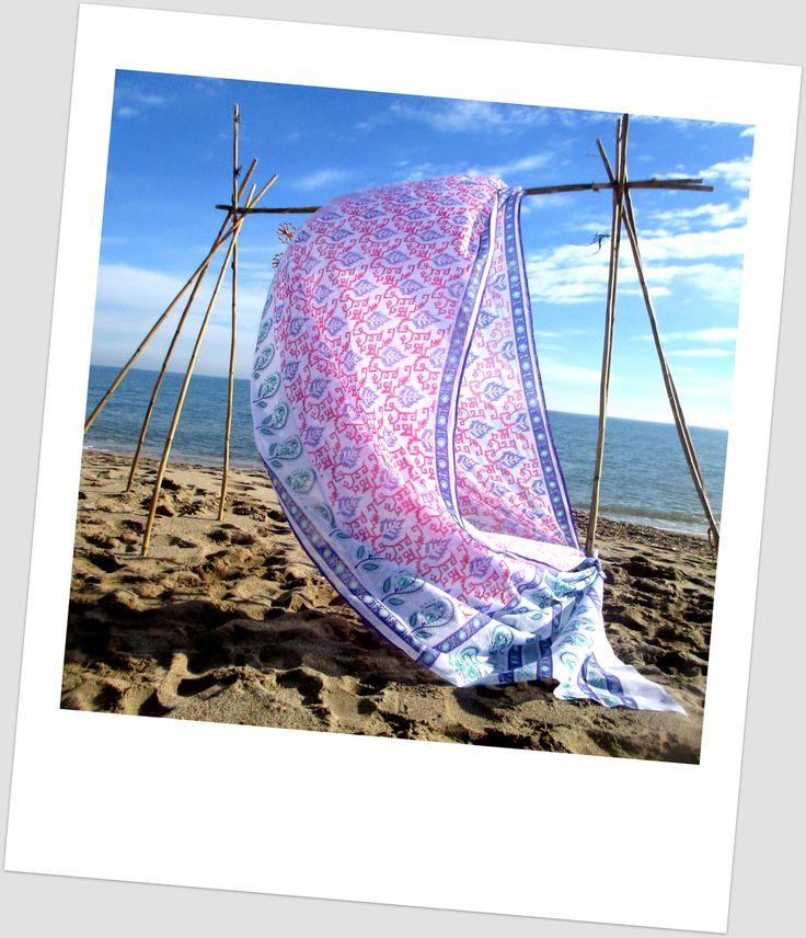 5 X 1.12 mètres de tissu indien sari en coton mélangé rose, violet... : Tissus pour rideaux, voilages par o-tissus-de-ganesh