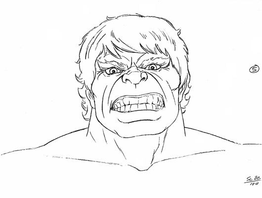 cartoon drawing of incredible hulk