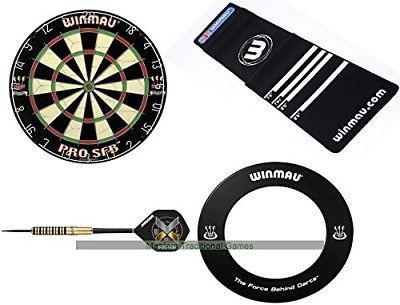 Home Darts Bundle - Winmau Dartboard Surround Darts and Oche Mat