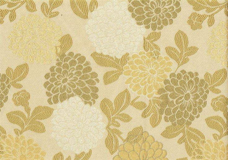 Designer Fabric Gold Green Floral Upholstery Weight | eBay