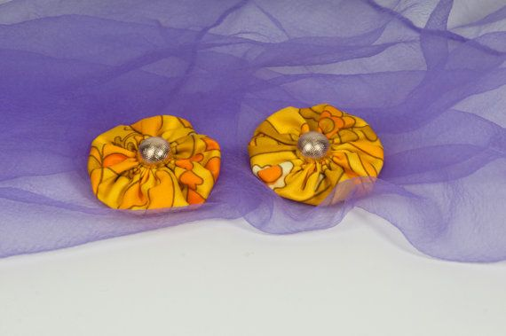 Fabric flower snap clips  Set of 2 snap clips  Vintage by Chrisin, €3.00