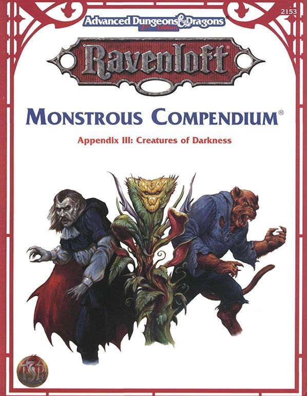 Monstrous Compendium - Ravenloft | Book cover and interior art for Advanced Dungeons and Dragons 2.0 - Advanced Dungeons & Dragons, D&D, DND, AD&D, ADND, 2nd Edition, 2nd Ed., 2.0, 2E, OSRIC, OSR, d20, fantasy, Roleplaying Game, Role Playing Game, RPG, Wizards of the Coast, WotC, TSR Inc. | Create your own roleplaying game books w/ RPG Bard: www.rpgbard.com | Not Trusty Sword art: click artwork for source