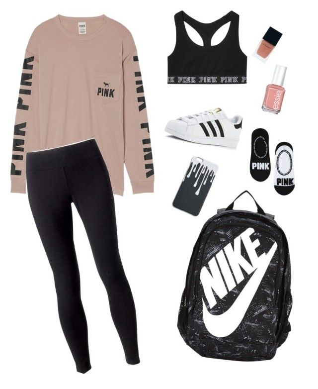"""School Clothes #20"" by lily141 on Polyvore featuring adidas, Victoria's Secret, Jockey, NIKE, Essie and Witchery"