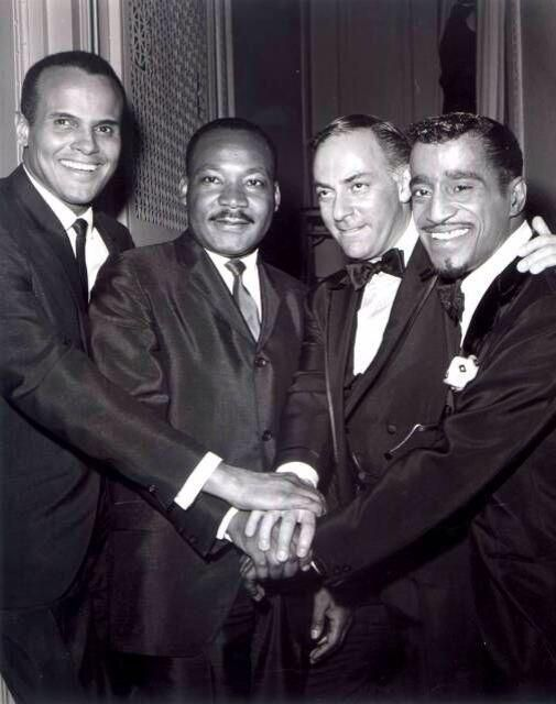 "Harry Belafonte, Martin Luther King Jr., theater and film producer Hillard Elkins and Sammy Davis Jr. in April 1965 at ""Broadway Answers Selma,"" a show Mr. Hillard produced to raise money for Dr. King. Many thanks to Kanisha Johnson, the patron saint of Dorothy Dandridge online (see DorothyDandridgeForever.com) for bringing this picture to my attention. Photo: Bandphoto Agency."