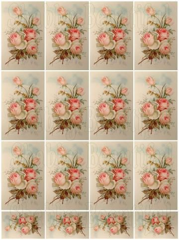 Digital collage sheet for your shabby chic cards, mini albums and scrapbooks
