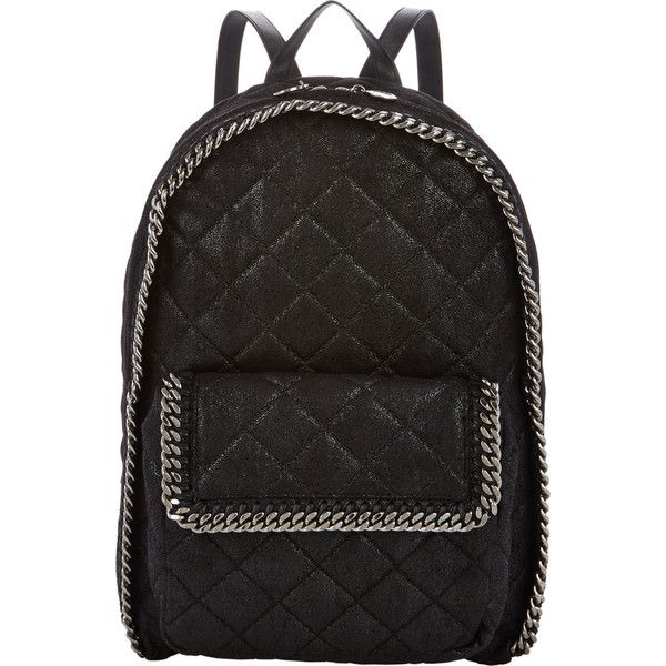 Stella McCartney Falabella Shaggy Deer Backpack ($1,595) ❤ liked on Polyvore featuring bags, backpacks, bolsas, black, quilted backpack, stella mccartney bags, backpack bags, rucksack bag and day pack backpack