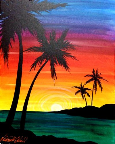 20 best acrylic painting images on Pinterest | Canvas ... Easy Beach Sunset Paintings