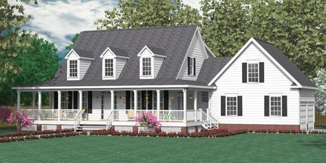 "House Plan 2341-A MONTGOMERY ""A"" elevation. Traditional 1-1/2-story house plan with 5 bedrooms and 2-1/2 baths. Two-story Foyer. Master Suite downstairs, with four bedrooms upstairs."