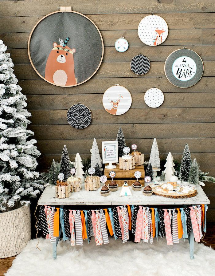 Winter Woodland Birthday Party Kara S Party Ideas Winter Woodland Birthday Party Winter Woodland Birthday Forest Birthday Party