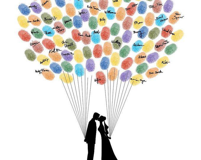 Wedding Guest Book, libro degli ospiti di impronte digitali, impronte digitali Wedding Guestbook, Custom Design, sposa & sposo siluette digitale stampabile JPEG