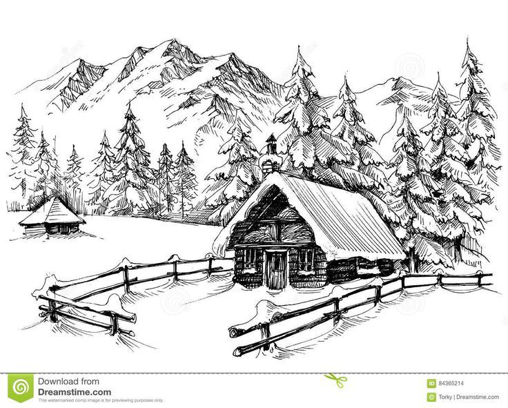 Download 375 Winter Cabin Drawing Stock Illustrations Vectors Clipart For Fre Cabin Dow Landscape Pencil Drawings Landscape Drawings Landscape Sketch
