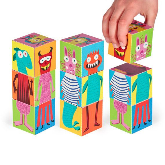 Monsters Blocks 2 - PRINTABLE PDF Toy - DIY Craft Kit Paper Toy - 3 paper blocks…
