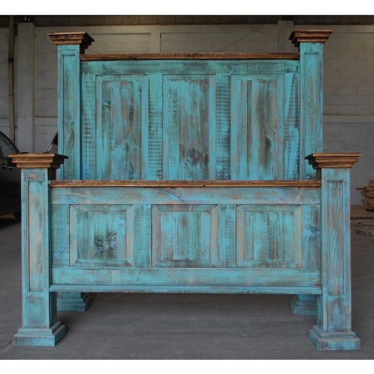 King Tall Headboard Turquoise Wash Rustic Pine Bed