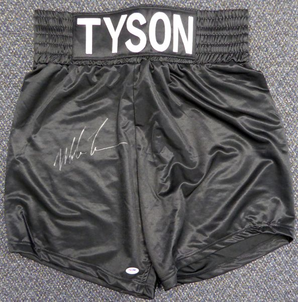 Mike Tyson Autographed Black Boxing Trunks PSA/DNA #X62607