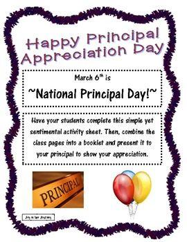 FREE Principal Appreciation Activity