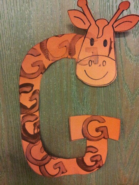 Letter g- giraffe art with letter g