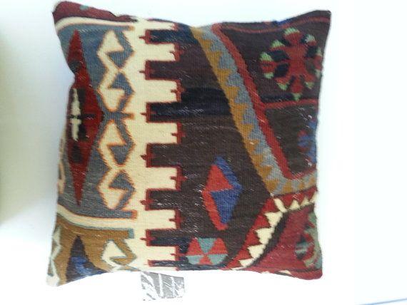 Turkish Pillow Case , Decorative Pillow , Ethnic Pillow , Bohemian Cushion Cover , Vintage Kilim Pillow, 40x40 cm (no22)