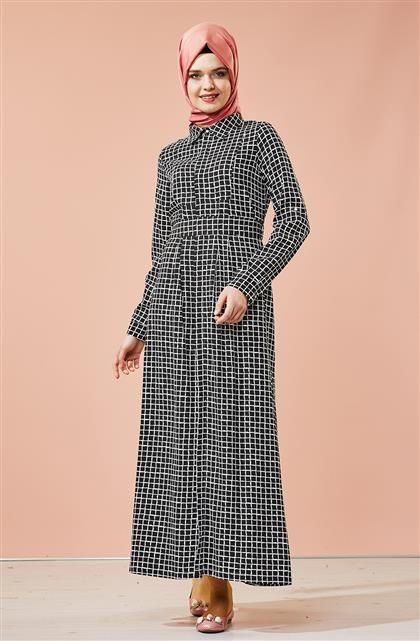 Hijab United Kare Desenli Elbise-Siyah Beyaz 3118-0102