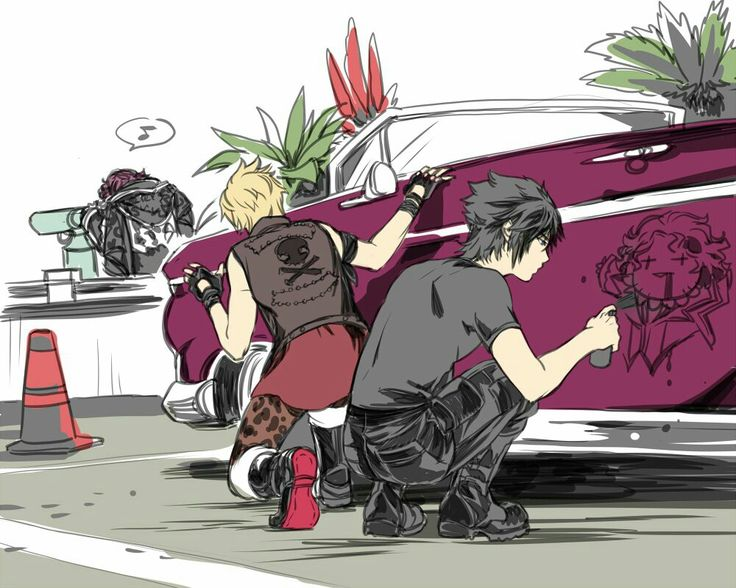 Final Fantasy XV / #ffxv Noctis and Prompto tagging Ardyn's car LOL