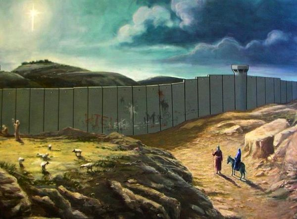 Banksys Christmas Card Shows A Bible Scene Abruptly
