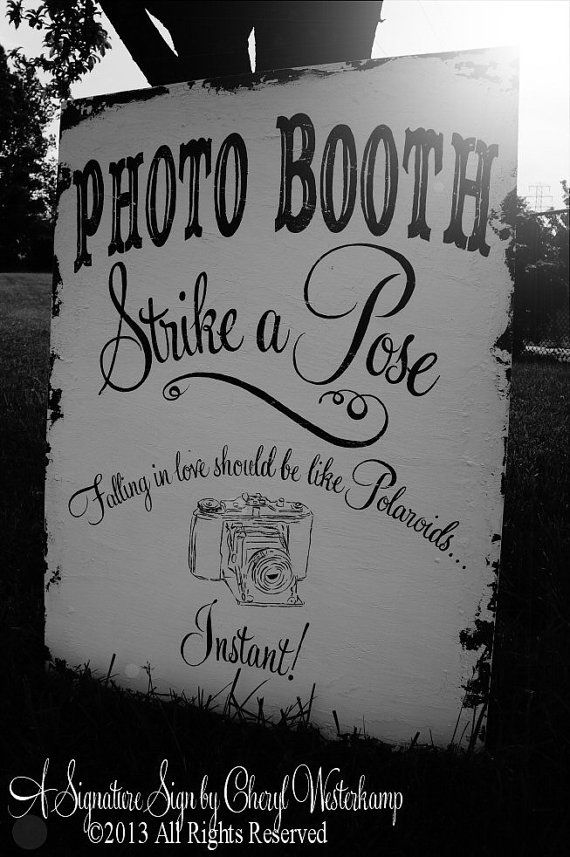 PHOTO BOOTH SIGN, Strike A Pose, Vintage Wedding Sign, Shabby Chic Wedding Decor