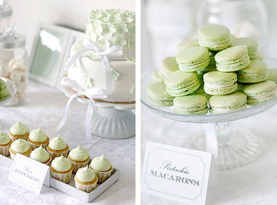 white and green dessert table  www.piccolielfi.it