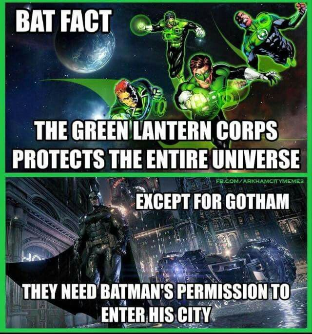 """It's been said before and I'll say it again """"the Justice League are Batmans, Bitches."""" Green Lantern is in the Justice league, therefore the entire Core are """"Batman's Bitches"""" Xx"""