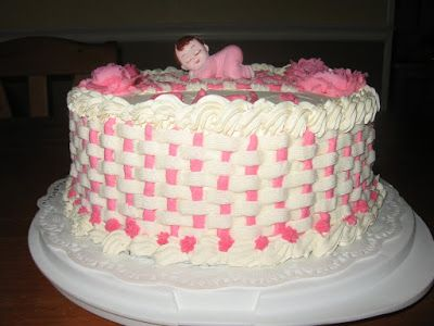AMAZING BUTTERCREAM FROSTING BABY SHOWER CAKES | Pretty Basketweave. Takes  A Long Time To Do