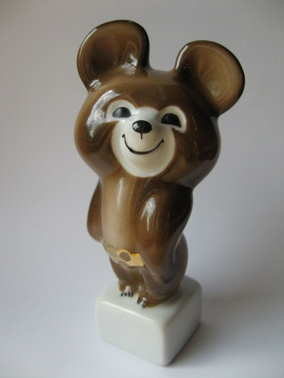 Vintage Olympic cub 1980 Moscow Olympic mascot Misha Bear porcelain figurine by VintageAndWatches, $39.00