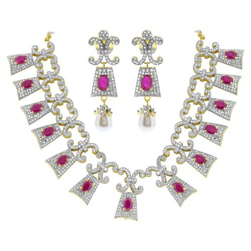 Gold Plated Simulated Ruby and Cubic Zirconia Bollywood Indian Necklace Earrings Set #JS132