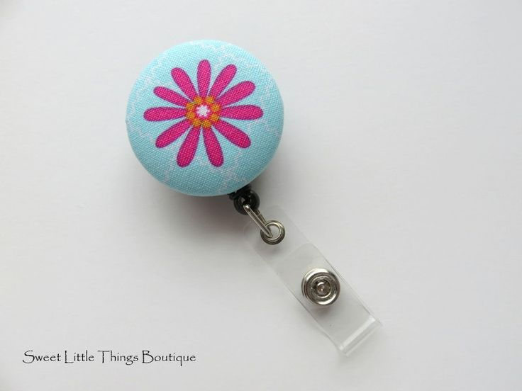 Retractable ID Badge Holder, Pink Flower Button ID Badge Reel, Name Badge Holder, Badge Clip, Nurse, Nursing Student, Doctor, Teacher by TheSweetLittleShop on Etsy