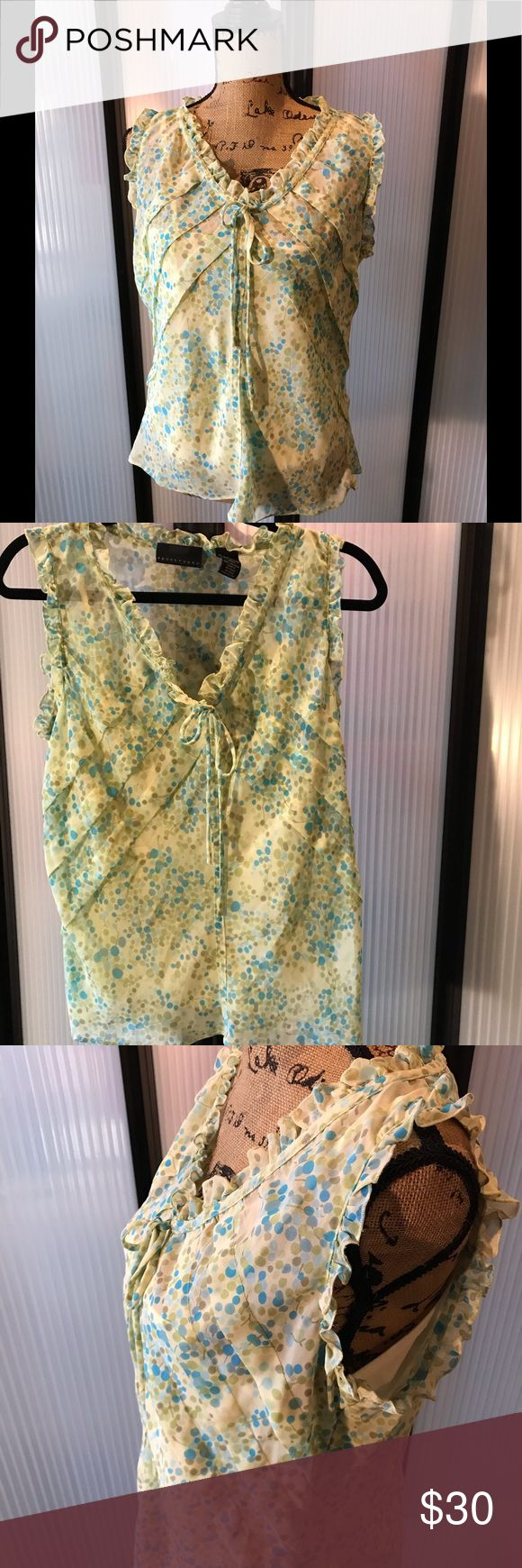 Sweet summer blouse. Vneck w/attached cami lining. Think spring! Camisole attach…