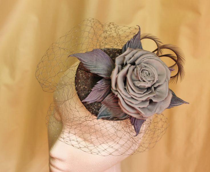 Grey fascinator with veil grey hat flower by PresentPerfectStudio, $125.00