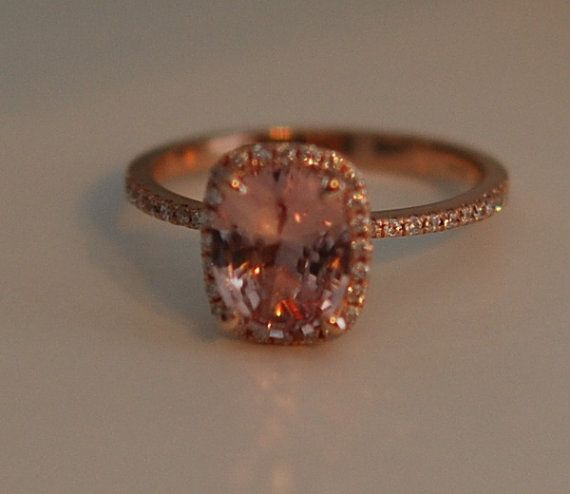 Peach Champagne Sapphire Ring 14k Rose Gold by EidelPrecious
