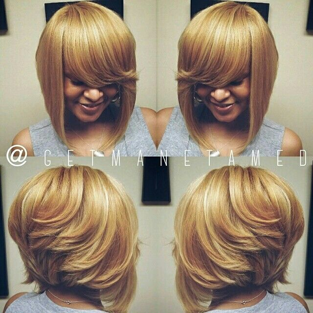 Full weave sew in with no leave out and a layered razor bob cut. Feathered bob.  Charming blonde bob. Houston, TX.  Follow me on instagram @getmanetamed.