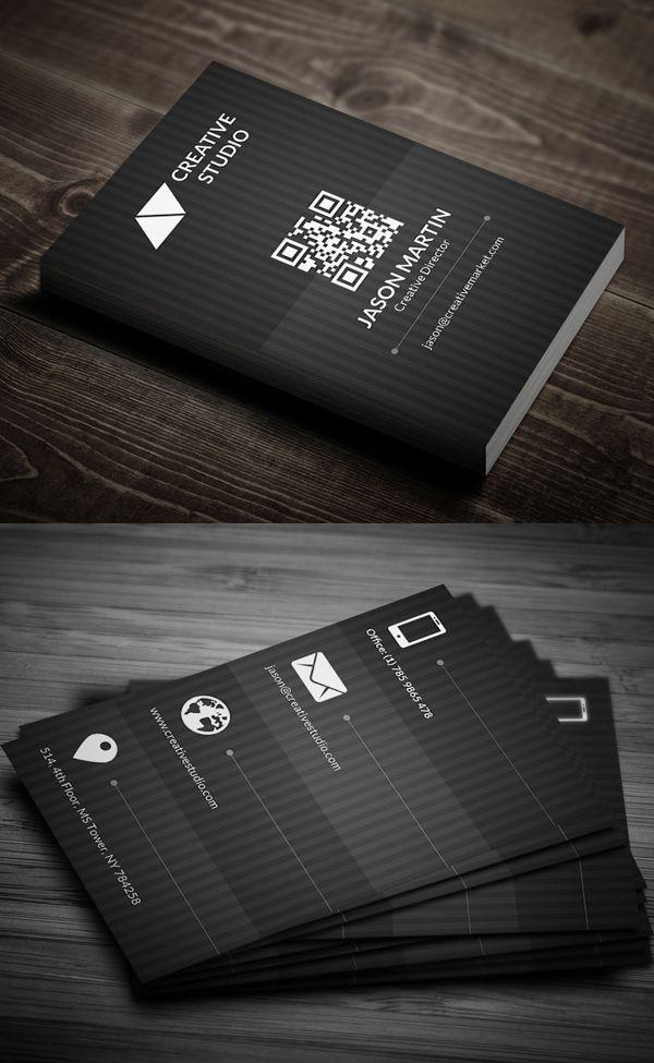 Metro Dark Business Card #businesscards #corporatedesign #businesscarddesign #psdtemplates