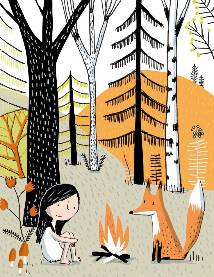 Elise Gravel • Little girl in the forest • Petite fille dans la forêt   Le choix des couleurs est réussi. Le renard a l'air sympa, à quand le loup?