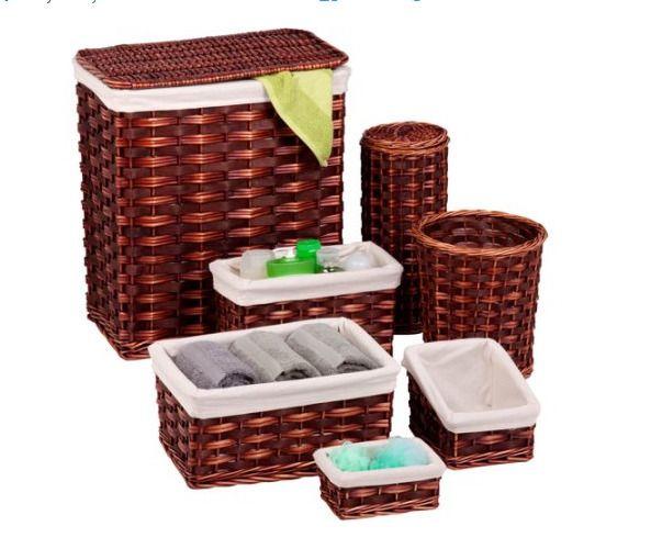 Bath Wicker Hamper Kit 7-Piece Bathroom Laundry Storage Organizer Home Decor NEW #BathWickerHamper