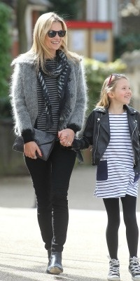 Celeb mom style steals: Kate Moss was spotted walking hand-in-hand with her cute daughter, 9-year-old Lila Moss, looking chic in black jeans, a tee and a cool jacket. In fact, you could say this is Moss's uniform as she is often spotted off the runway in jeans and a tee and blazer or jacket. Find out how you can copy Kate's effortlessly cool celebrity mom style.