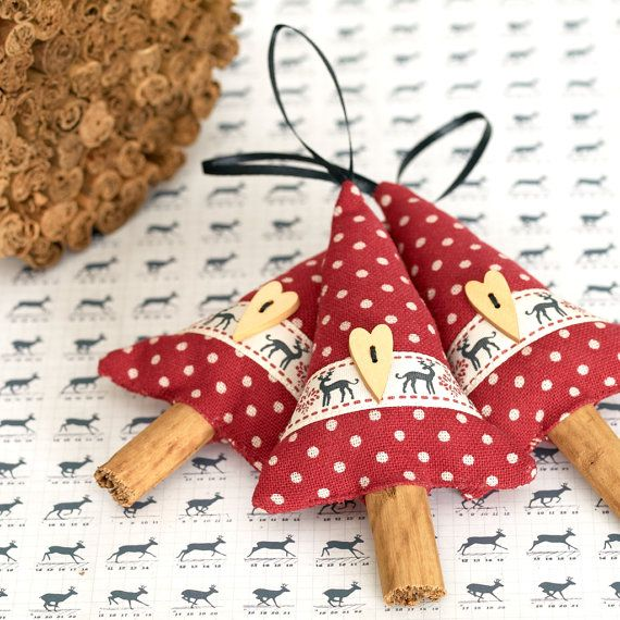 Bring some natural Christmas decor into your home with this set of three handmade Christmas decorations. Made in the form of rustic Christmas