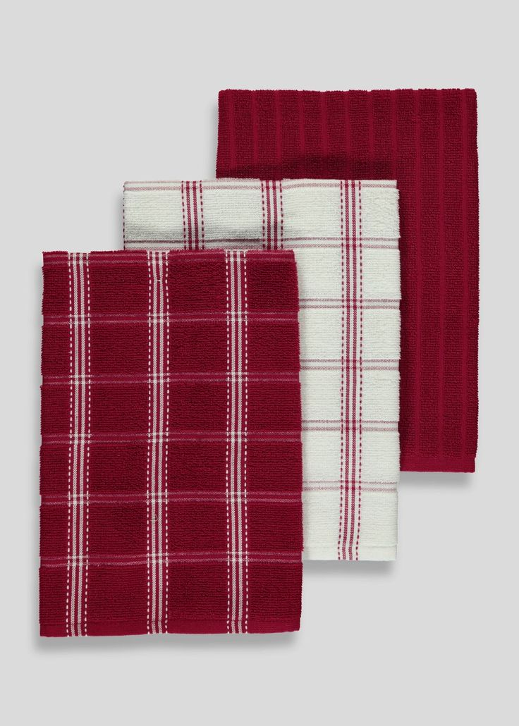 3 Pack Check Terry Tea Towels (40cm x 65cm)